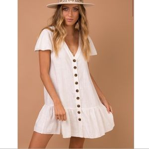Princess Polly cream button down mini dress